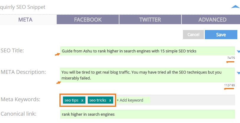 How to use Squirrl SEO plugin for your blog optimization